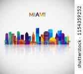 miami skyline silhouette in... | Shutterstock .eps vector #1154359252