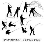 fisher silhouette  | Shutterstock .eps vector #1154371438