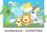 Stock vector vector illustration of cute jungle baby animals and jungle plants 115437346