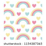 rainbows and hearts background...   Shutterstock .eps vector #1154387365