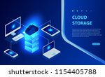 isometric flat cloud hosting... | Shutterstock .eps vector #1154405788