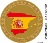 spain flag and map badge. wall...   Shutterstock .eps vector #1154408905