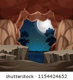 entrance to cave night scene... | Shutterstock .eps vector #1154424652