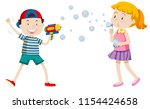 children playing with bubbles... | Shutterstock .eps vector #1154424658