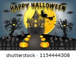 witch riding broom flying over...   Shutterstock .eps vector #1154444308