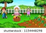 farmers are harvesting the...   Shutterstock .eps vector #1154448298