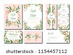 wedding card templates set with ... | Shutterstock .eps vector #1154457112