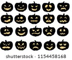 Pumpkins Icons. Vector Black...