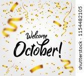 welcome october with golden... | Shutterstock .eps vector #1154482105
