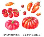 many different tomatoes.... | Shutterstock . vector #1154483818