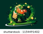 angry leprechaun with gold....   Shutterstock .eps vector #1154491402