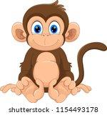 cute monkey cartoon    Shutterstock . vector #1154493178
