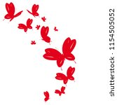 beautiful red butterflies ... | Shutterstock . vector #1154505052