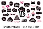 photobooth props set for sweet... | Shutterstock .eps vector #1154513485