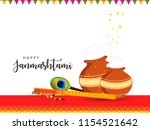 happy janmashtami. indian... | Shutterstock .eps vector #1154521642