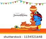 happy janmashtami. indian... | Shutterstock .eps vector #1154521648