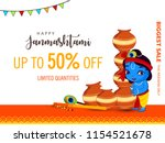 happy janmashtami. indian... | Shutterstock .eps vector #1154521678