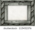 Template background - paper sheet on wooden frame - stock photo