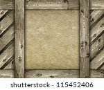Canvas and wood background - template - stock photo