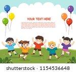 children's activities. happy... | Shutterstock .eps vector #1154536648