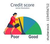 credit score  gauge.... | Shutterstock .eps vector #1154556712