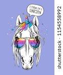 portrait of a magical horse... | Shutterstock .eps vector #1154558992