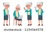 old woman poses set vector.... | Shutterstock .eps vector #1154564578