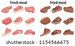 fresh meat and fried meat.... | Shutterstock .eps vector #1154566675