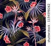 dark exotic retro tropical wild ... | Shutterstock .eps vector #1154598262