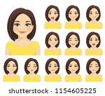 woman with different facial... | Shutterstock .eps vector #1154605225