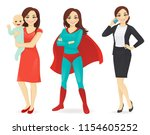 mother with baby  businesswoman ... | Shutterstock .eps vector #1154605252