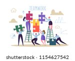 business teamwork concept. flat ... | Shutterstock .eps vector #1154627542