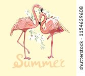 pink flamingo  illustration   Shutterstock . vector #1154639608