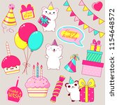 set of cute birthday party... | Shutterstock .eps vector #1154648572