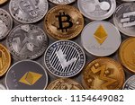 gold and silver coins  ltc  eth ... | Shutterstock . vector #1154649082