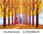 autumn alley  guy and girl... | Shutterstock .eps vector #1154658625
