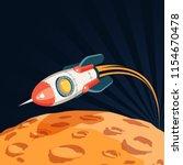 3d space rocket flies over the... | Shutterstock .eps vector #1154670478