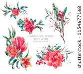 Vector Floral Set Of Red...