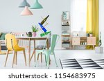 real photo of a colorful dining ... | Shutterstock . vector #1154683975
