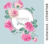 vector vintage floral greeting... | Shutterstock .eps vector #1154687668
