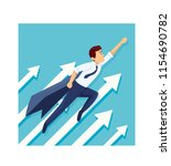 young business hero are fly to...   Shutterstock .eps vector #1154690782
