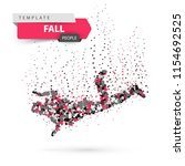 man falls and jumps   color dot ... | Shutterstock .eps vector #1154692525