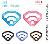 wifi watercolor icon set.... | Shutterstock .eps vector #1154699188