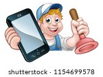 a plumber or handyman holding a ... | Shutterstock .eps vector #1154699578