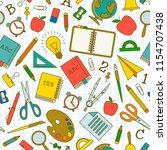 school doodle seamless pattern... | Shutterstock .eps vector #1154707438