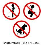 no pee sign. no poop sign. set... | Shutterstock .eps vector #1154710558