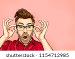 portrait of man in glasses says ... | Shutterstock . vector #1154712985