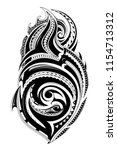 tribal tattoo with ethnic... | Shutterstock .eps vector #1154713312