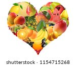 different fruits with different ... | Shutterstock . vector #1154715268