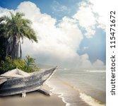 vintage beach background | Shutterstock . vector #115471672